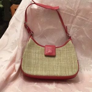 Coach Straw mini bag w/ red leather trim